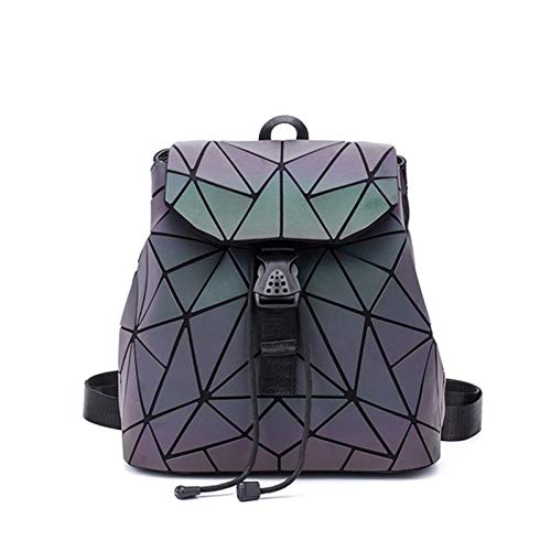 Fashion Ladies Backpack Schoolbag Teen Girl Schoolbag Foldable Geometric Luminous Backpack Travel Accessories (Color : Pattern 2)