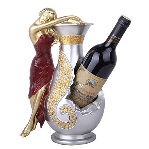 Juegos de accesorios de baño Estante del vino Creative Kitchen artículos for el hogar estante del vino figurines miniaturas de belleza Chica estante de la botella de vino Juegos de accesorios de baño