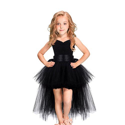 HBBMAGIC Tütü Kleid Mit Gürtel Karneval Kostüm Kinder Tüll Kleid Mädchen für Hochzeit, Geburtstag, Besonderen Anlass, Schwarz, 104/3-4 Jahre