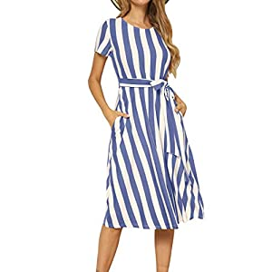 Women's Short Sleeve Striped Casual Flowy Midi Belt Dress with Pockets