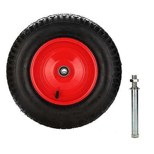 Hengda Schubkarrenrad luftbereift 4.80/4.00-8 Ø 390mm Schubkarrenreifen 200 kg 95mm Breite inkl. Achse Ersatzrad Reifen für Schubkarre