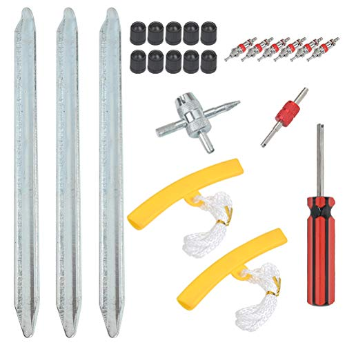 POKIENE 24 Stück Reifen Montiereisen Set | Montierhebel Montierstange + Rad Felge Protektoren für Motorrad Fahrrad Reifen wechseln/entfernen