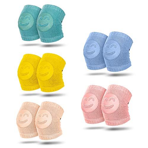 Comius Sharp Knieschoner Baby Krabbeln, 5 Paar Baby Knieschoner Krabbelhilfe mit Gummi Anti-Rutsch knieschoner für 0-24 Monate Babys (5 Paar)