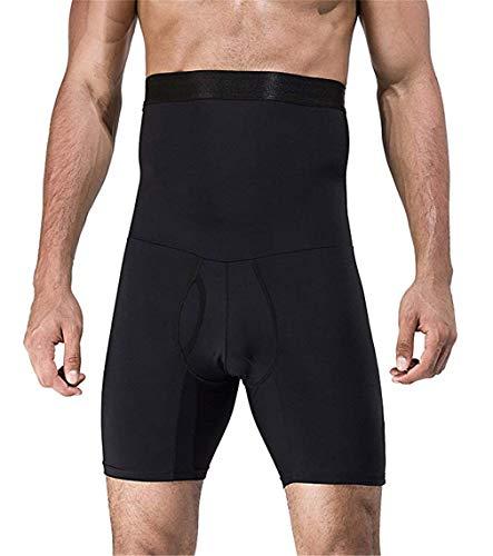 NOVECASA Pantalones Cortos de Compresión para Hombre con Faja Moldeadora Abdominal Plano Calzoncillos Reductoros Elásticos Shapewear (2XL(95-108 kg), Negro)