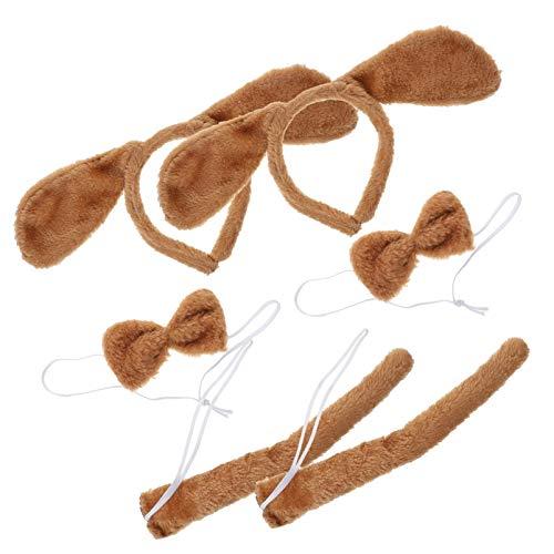 PIXNOR 2 Conjuntos de Disfraces de Perro Orejas Largas de Animales Diadema de Cola Y Arco de Peluche Cachorro Accesorios de Disfraz para Nios Pequeos Disfraces de Perro Vestido Marrn