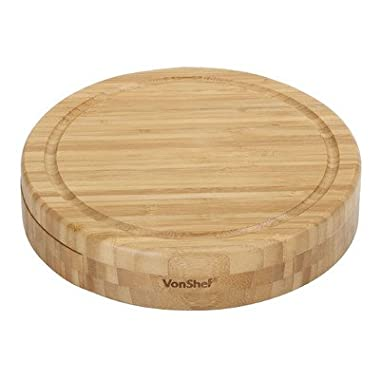 VonShef Round Slide Out Bamboo Wooden Cheese Board and 4 Piece Knife Set, 9.8 inch diameter