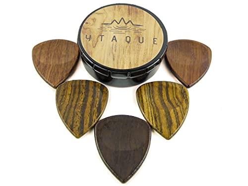 Púas de madera noble artesanal, ecológicas, para guitarra