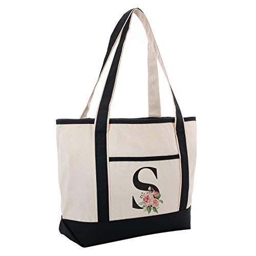 Black Linen Canvas Tote Bag Floral Initial For Beach Workout Yoga Vacation S