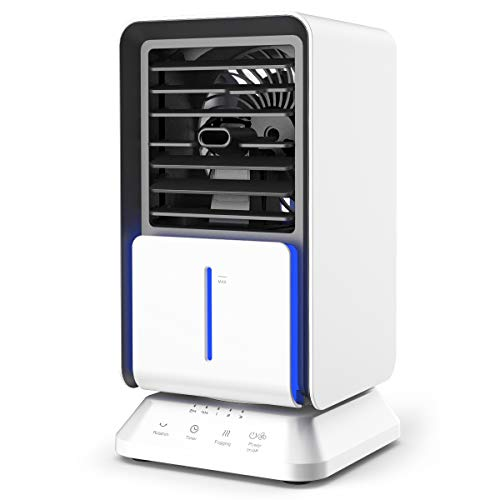 infray Portable Air Cooler, Personal Mini Air Conditioner Space Cooler Table Fan 3 in 1 Desktop Evaporative Cooler, Humidifier, Purifier with Timer Function and 90? Auto Oscillating for Home Office