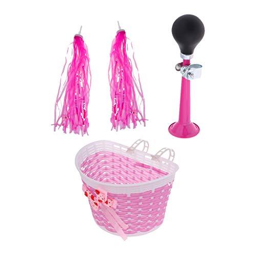 MagiDeal Kinder Fahrradklingel + Lenkerfransen Lila Pink Streamer Bändchen + Fahrradkorb Lenkerkorb Kinderfahrrad Dekoration - Rosa