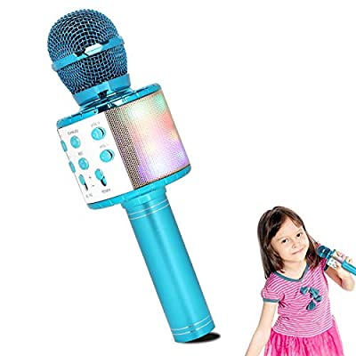 HALOViE Karaoke Machine Kids Wireless Microphone Bluetooth Handheld Portable Speaker Home KTV Player with Dancing LED Lights Record Function Toys for Boy Girl Party Singing