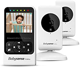 New Babysense Video Baby Monitor with Camera and Audio, Supplied with Two Cameras, Long Range, Room Temperature, Infrared Night Vision, Two Way Talk Back, Lullabies and White Noise, Model V24R_2