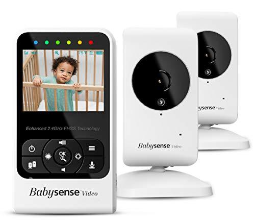 """Babysense Vigilabebés con video con cámara y audio, pantalla de 2.4"""", suministrado con dos cámaras, canciones de cuna y ruido blanco, modelo V24R_2"""