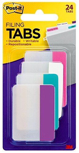 Post-it Tabs, 2 in., Solid, Assorted Colors, Durable, Writable, Repositionable, Sticks Securely, Removes Cleanly, 6 Tabs/Color, 4 Colors, 24 Tabs/Pack, (686-PWAV)