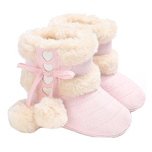 ZUMUii Butterme Baby Caliente Botas De Algodón Suave Antideslizante Soles Lindo Zapatos De Niño para 0-18 Meses Bebé(13CM,Rosa)