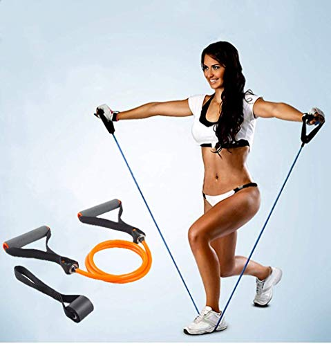 TOCO FREIDO Single Resistance Exercise Band with Comfortable Foam Handles and Door Anchor, Exercise Tube for Home Workouts ,Yoga, Gym, Pilates, Stretching, Fitness Training (25-30lbs)