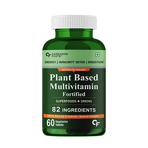 Carbamide Forte Plant Based Multivitamin Tablets for Men & Women for Immunity, Energy & Detox with 82 Ingredients like Superfoods, Greens, Vegetables, Fruits & Herbs Supplement – 60 Veg Tablets