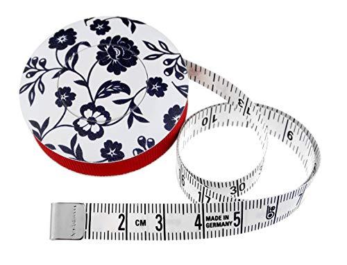 hoechstmass Balzer 80244d-s Rollmaßband rollfix Dekor Blumen, 150 cm / 60 Zoll, Größe 5 cm Maßband, ABS, Schwarz-Weiß, 5 x 5 x 1,4 cm