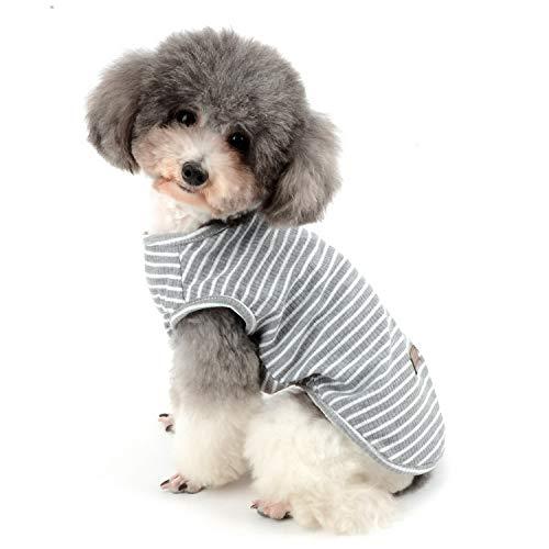 Zunea Hundeshirt für kleine Hunde, Katzen, Haustiere, gestreiftes T-Shirt für den Sommer, coole Weste, Welpen, Basic, Tank-Top, weiche Baumwolle, Chihuahua, Kleidung für Hunde, Grau, Größe L