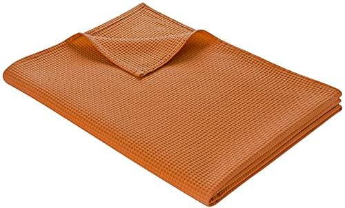 Aokali Colcha de 150 x 200 cm, ligera manta de verano de 100 % algodón, manta de sofá, versátil y fácil de limpiar (bronce 150 x 200)
