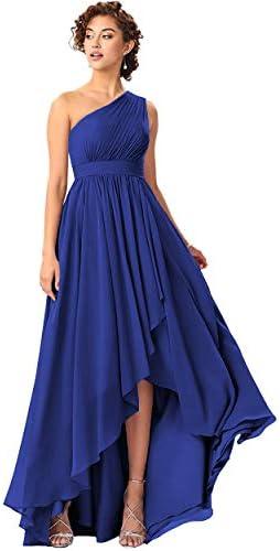 PAVERJER Women s One Shoulder Royal Blue Bridesmaid Dresses Long High Low Chiffon Prom Dress product image