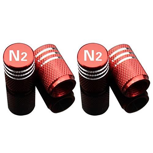 EVPRO Tapones de válvula con Signo de nitrógeno N2 para Llantas de Coche, Accesorios Decorativos (4 Unidades)