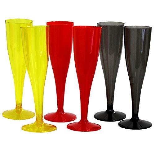 HAC24 30x Plastik Sektglas 0,1L Champagnerglas Kunststoff Unzerbrechlich Sektkelch Plastikglas Schwarz Rot Gelb
