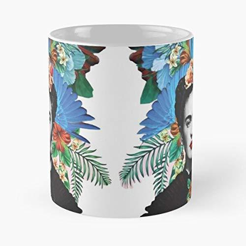 Desconocido Portrait PWR GRL Artist Painter Flowers Girl Mexican Colourful Headband Flower Taza de café con Leche 11 oz