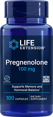 Life Extension Pregnenolone 100mg Hormone Balance, Anti-Aging & Longevity - Memory & Cognition Support Supplement – Non-GMO, Gluten-Free -100 Capsules