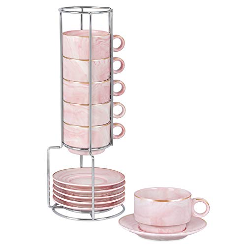 Espresso Mugs Set of 6 with Rack Marble Stackable Espresso Cups with Saucers and Metal Stand Demitasse Cups Designed for Espresso, Latte, Cafe, Mocha 3OZ Pink