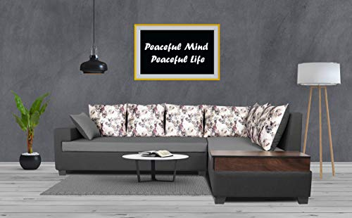 Adorn India Orlando Fabric L Shape Sofa (Dark Grey & Light Gery)