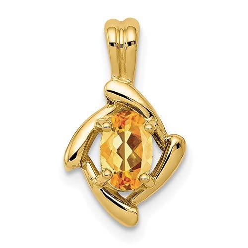 Jewelry-14k 6x4mm Oval Citrine Pendant