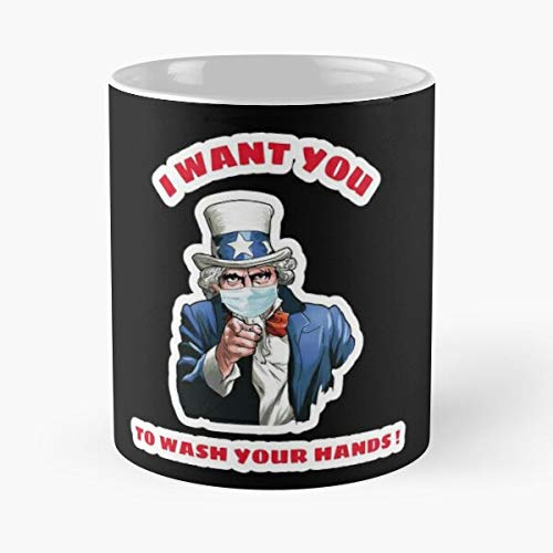 Uncle Sam Wearing Mask - Patriotic Gift Classic Mug Gift The Office 11 Ounces Funny White Coffee Mugs-nilinkep