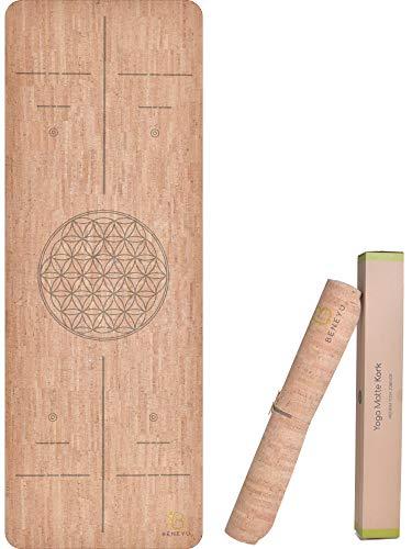 beneyu ® Langlebige Premium Kork Yogamatte 2.0 - eine Exklusive Yogamatte für Anspruchsvolle und Profis Made in EU (Kork (mit Linien), 190 x 70 x 0,3 cm)