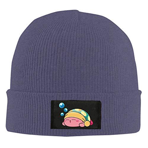 Lustige süße schlafende Kirby Strickmütze Winter Outdoor Mütze Warm Beanie Caps für Herren Damen Schwarz Gr. Einheitsgröße, navy