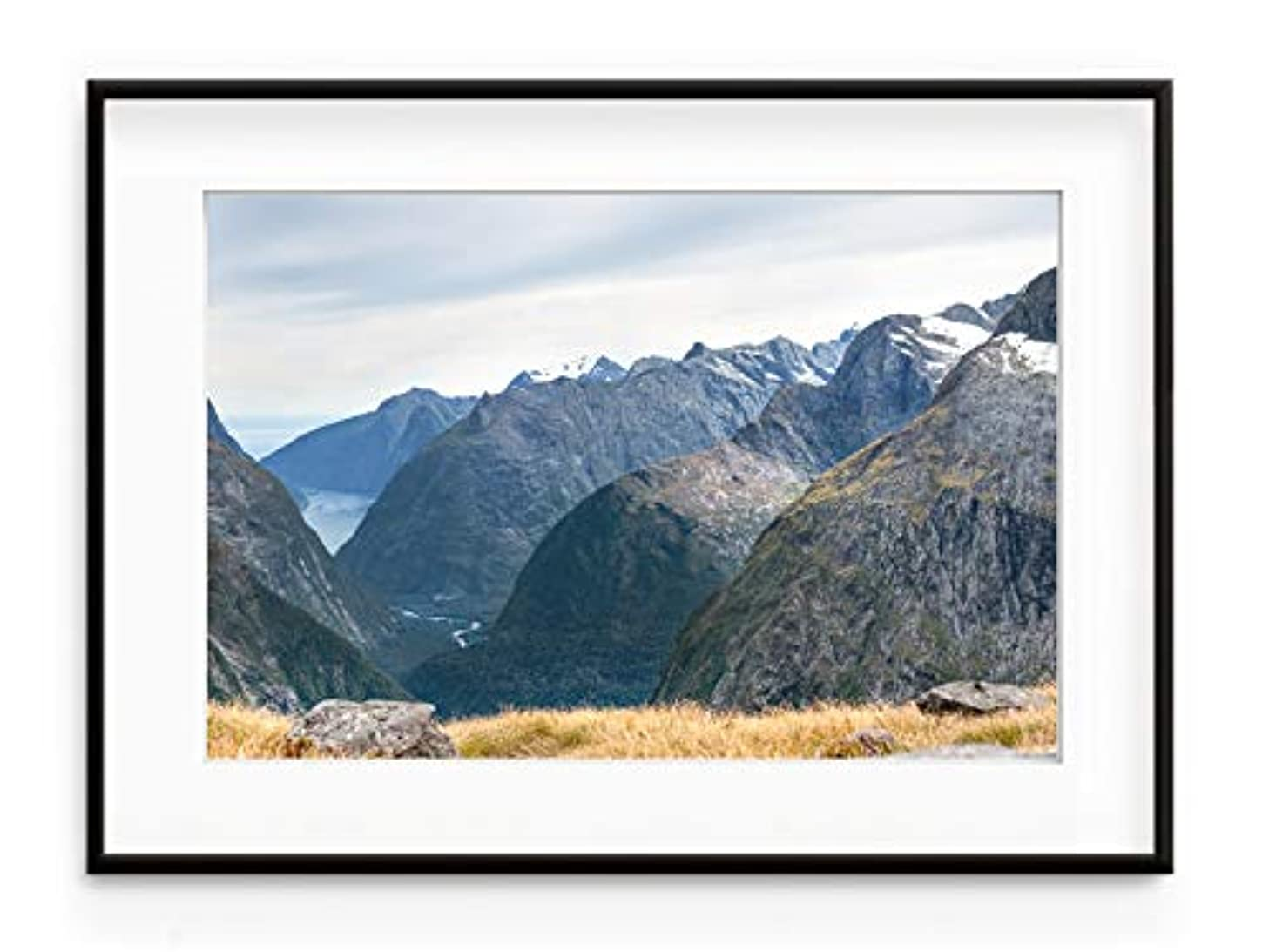 Fiordland New Zelander Black Satin Aluminium Frame with Mount, Multicolored, 30x40
