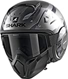 Shark Street Drak KANHJI AKA - Casco de Moto, Color Negro y Gris, M