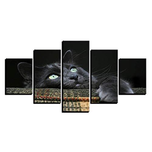 nr canvas schilderij wooncultuur HD prints dierfoto's zacht knuffelig grijs zwarte kat poster voor kinderkamer muurkunst 40x60 40x80 40x100 cm geen lijst