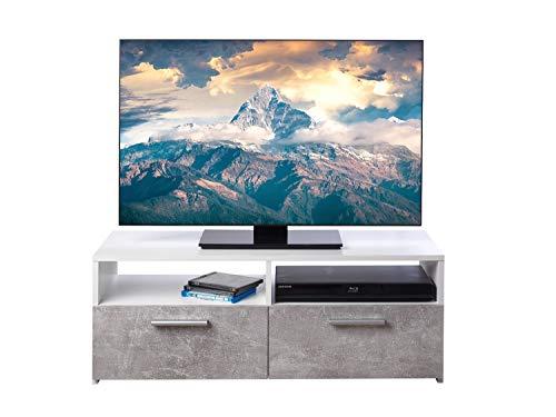 TV Lowboard Fernsehschrank Fernsehtisch TV Board TV Bank TV Rack | Dekor | Grau | Weiß | Betonoptik | 2 Fächer | 2 Klappen | BxHxT: 95x35x36 cm