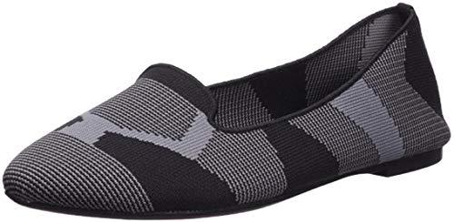 Skechers Women's Cleo-Sherlock-Engineered Knit Loafer Skimmer Ballet Flat, Black, 9 M US