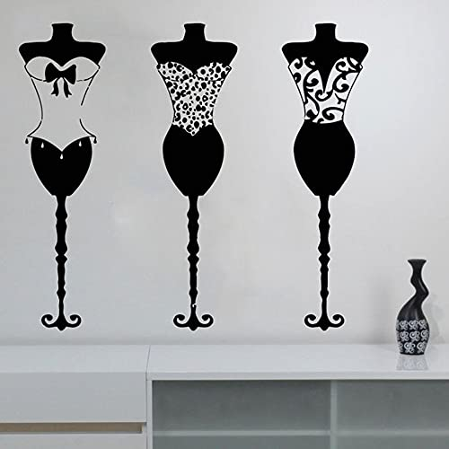 WERWN Ropa de Moda calcomanías de Vinilo para Pared Ropa Boutique Vestido maniquíes Tienda de Ropa para Mujeres Ventana Moderna Pegatinas Art Deco