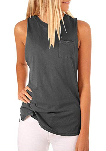 Hount Women's High Neck Tank Tops Summer Sleeveless T Shirts Loose Fit with Pockets (Deep Grey, S)