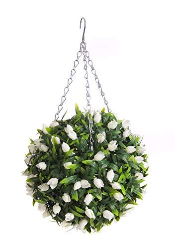 Best Artificial (TM) 30cm avorio bianco Tulip Flower Ball lush Long Leaf Topiary erba