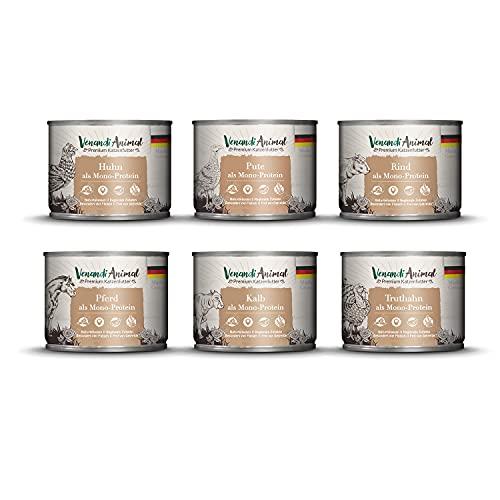 Venandi Animal Mangime per Gatti Premium, Pacchetto di Prova III 1 Pollo, 1 Anatra, 1 Bovino, 1 Cavallo, 1 Vitello, 1 Tacchino, Senza Cereali, Pacco da 6 x 200 g
