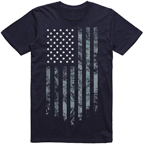 Wishful Inking Dallas Football Fans White & Silver Distressed American Flag T-Shirt (4X, Navy)