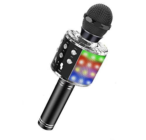 ASENTER Micrófono Inalámbrico Bluetooth Karaoke con luces LED,Infantil Portátil de mano Speaker Machine Birthday Home Party Compatible con Android/iOS/PC/AUX o Teléfono Inteligente (Negro)