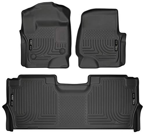 Husky Liners Fits 2017-20 Ford F-250/F-350 Crew Cab - with factory storage box Weatherbeater Front & 2nd Seat Floor Mats
