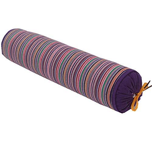 La almohada de trigo sarraceno se utiliza para el dolor de la columna cervical rayas de tela gruesa vieja almohada de trigo sarraceno vértebra cervical, almohada cilíndrica extraíble y lavable
