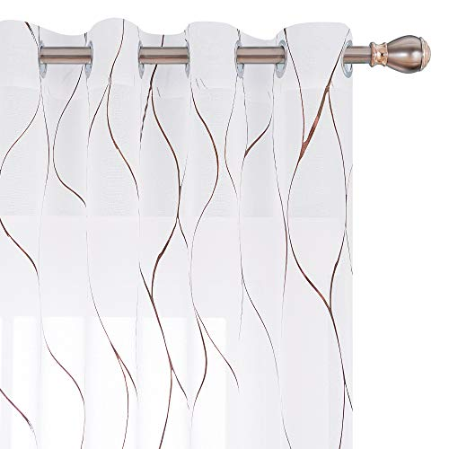 Deconovo Bronze Foil Printed Wave Pattern Semi Sheer Curtains Grommet Top Linen Look Voile Drapery Decorative Drapes for Small Window 52W x 45L Inch White Set of 2 Panels