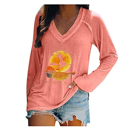 Camiseta de manga larga para mujer y nia, jersey suelto, sudadera bsica de Halloween, camiseta elegante, cuello redondo, camiseta informal con diseo de bruja, Rosa., S